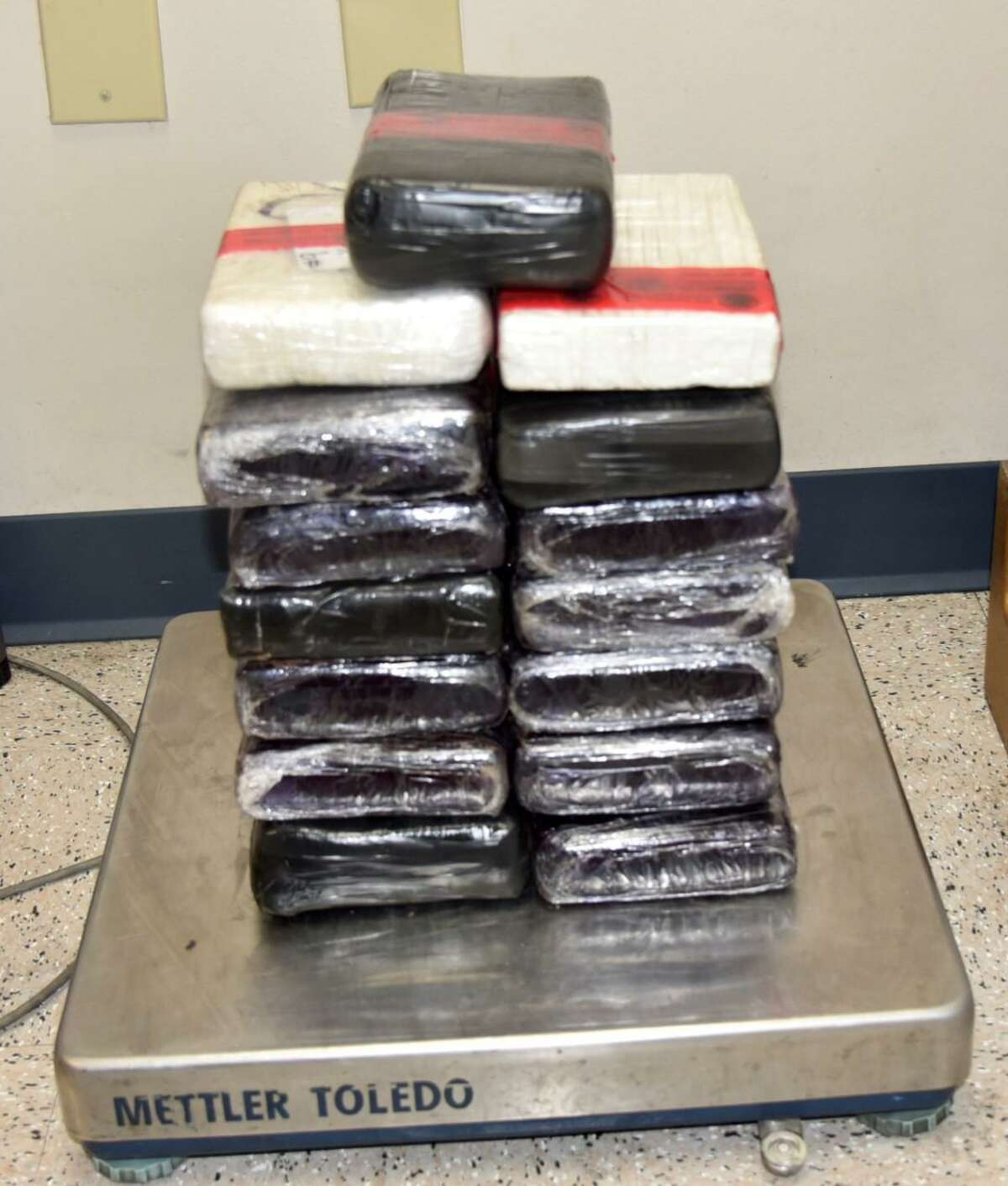 This is one of three drug seizures that occurred over the weekend at the World Trade Bridge. Pictured are 37 pounds of cocaine.