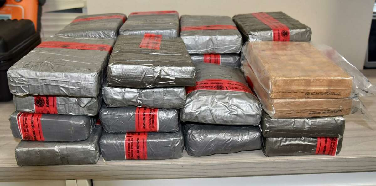 This is one of three drug seizures that occurred over the weekend at the World Trade Bridge. Pictured are 74 pounds of cocaine.
