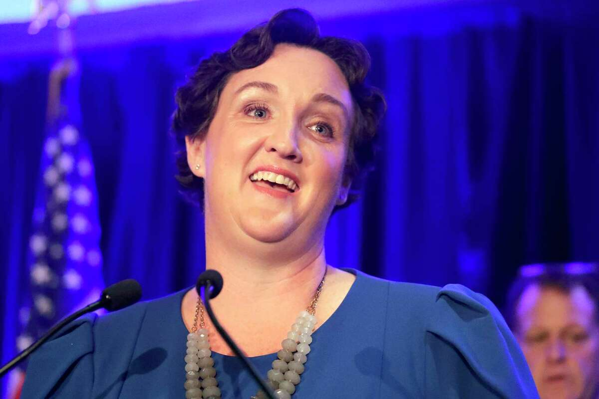 FILE - In this Nov. 6, 2018 file photo, Katie Porter speaks during an election night event in Tustin, Calif.