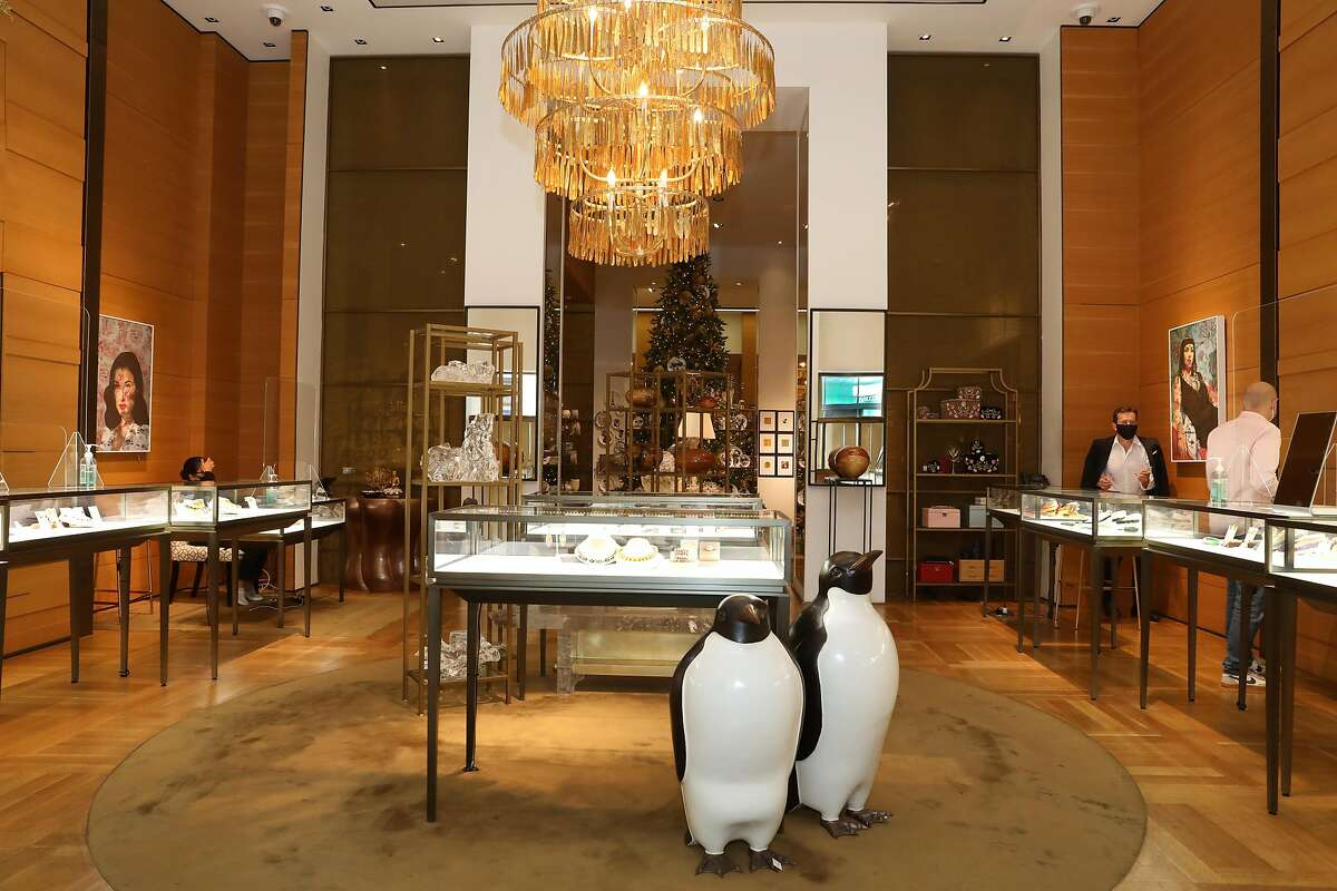Penguins seen in the jewelry section of Gump's on Thursday, Oct. 15, 2020, in San Francisco, Calif.