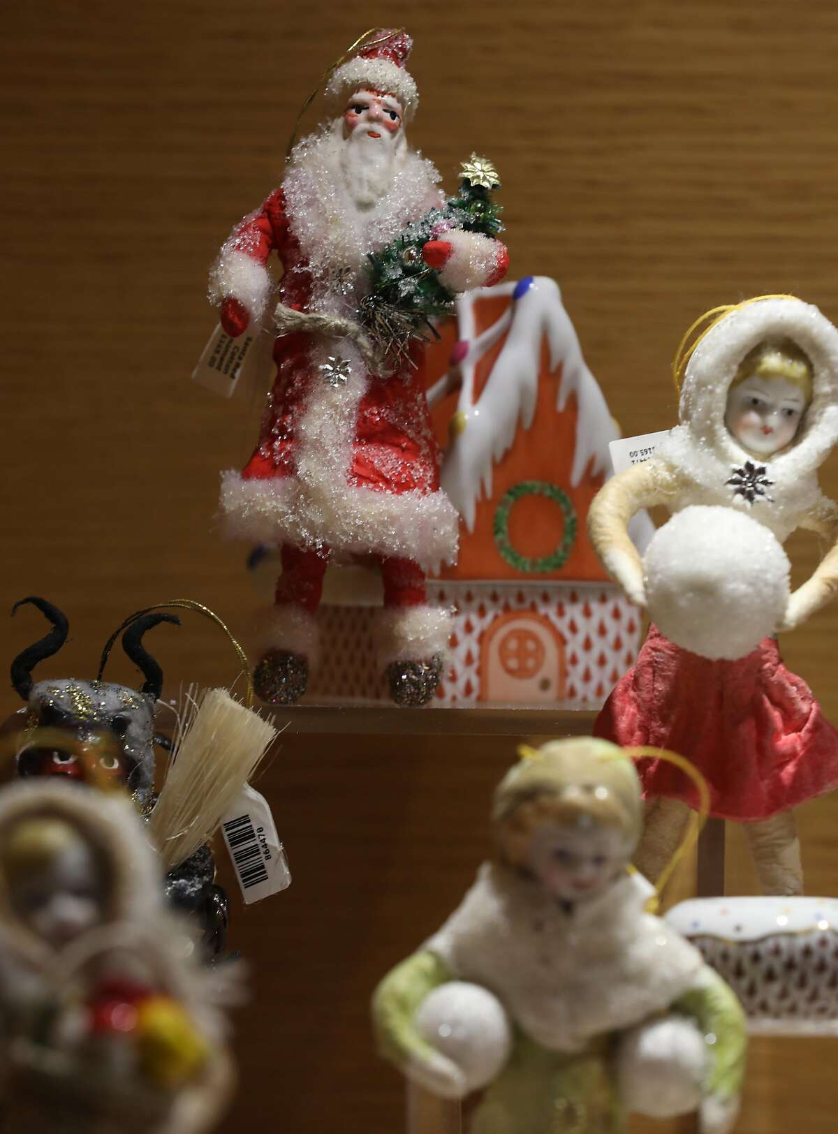 Holiday ceramic figurine display seen at Gump's on Thursday, Oct. 15, 2020, in San Francisco, Calif.