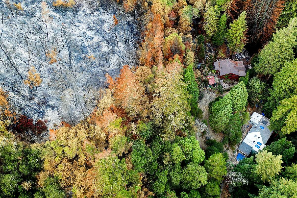 Houses stand below a hillside scorched during the CZU Lightning Complex fire in Boulder Creek, Calif., on Friday, Oct. 9, 2020. Scientists and residents worry that charred hillsides will produce mudslides when winter rains hit.