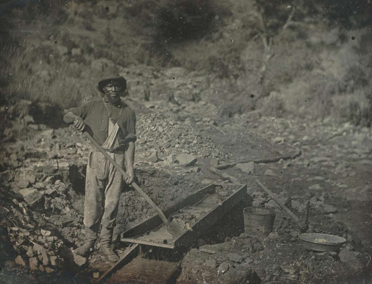 An African American miner during the Gold Rush era, 1852. The man was photographed working in the Sierra Foothills near Auburn (Placer County).