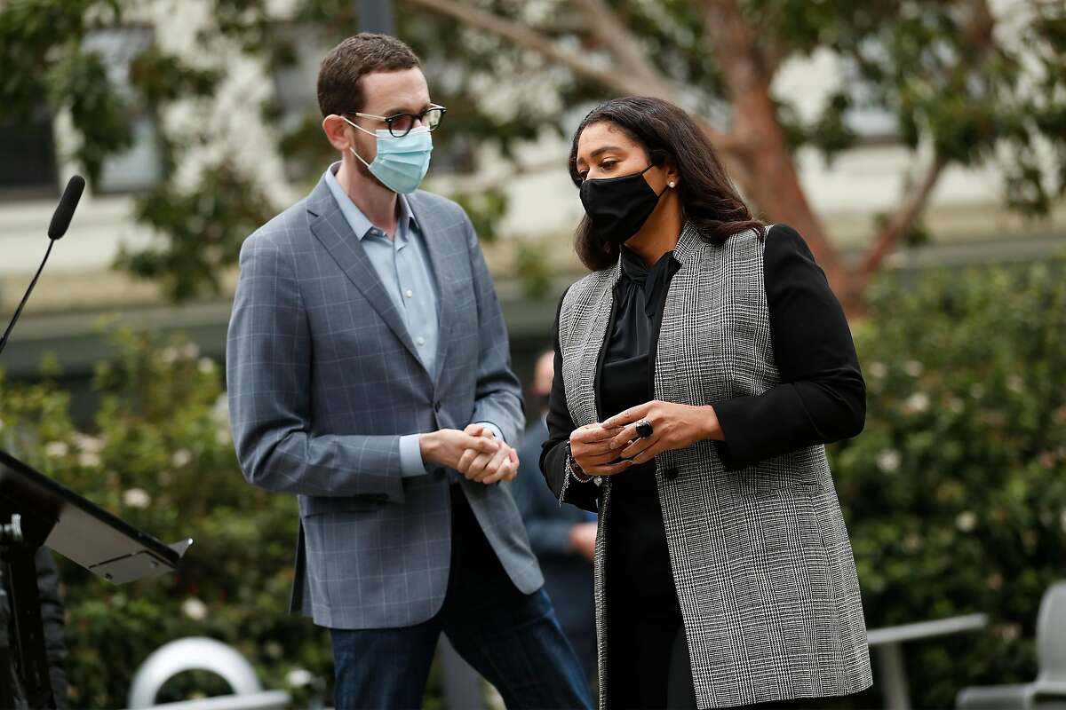 """S.F. Mayor London Breed (right, with state Sen. Scott Wiener last week) says, """"The fact that our kids aren't in school is what's driving inequity in our city."""""""