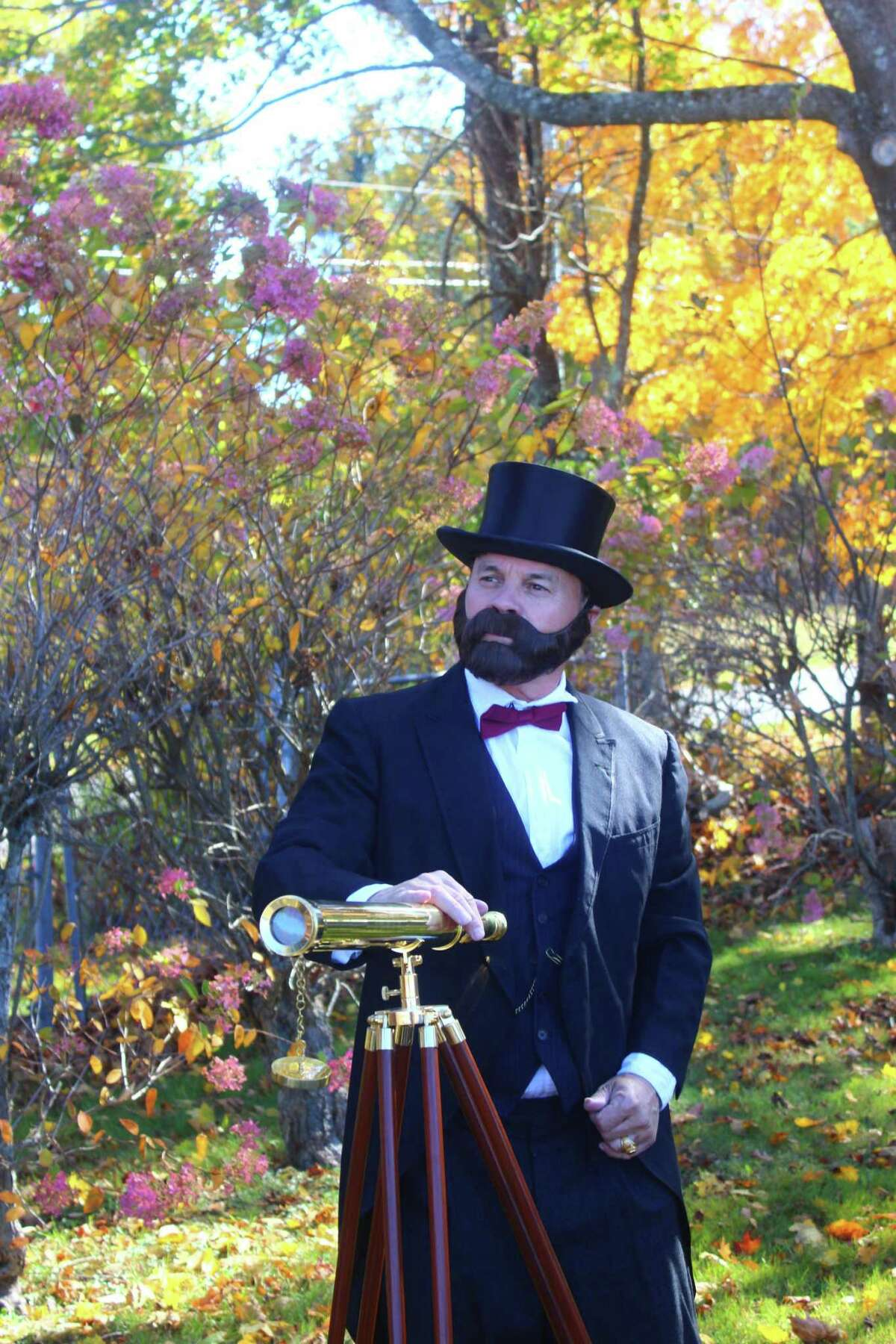 Historian and reenactor Kevin Titus dressed up as astronomer Asphus Hall and held a birthday celebration for him at his grave in Goshen Center Cemetery Oct. 15. Hall was the U.S. Astronomer under President Abraham Lincoln, and is credited with discovering the moons around Mars.