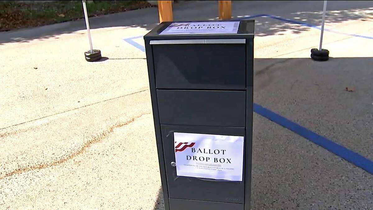 Unofficial drop boxes, like this one at Grace Baptist Church in Santa Clarita (Los Angeles County) have been moved indoors by the California Republican party, which says its collection of voters' ballots is legal under state law.