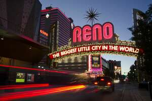 Famous neon Reno sign in the evening.