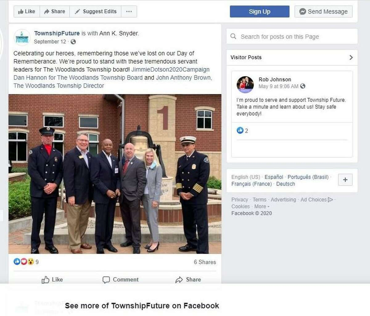 A photograph of The Woodlands Fire Chief Palmer Buck and another firefighter, Erik Secrest, with three township board candidates that was used on the TownshipFuture PAC Facebook page and by Director Ann Snyder in campaign material has been disavowed by the two fire officials and called