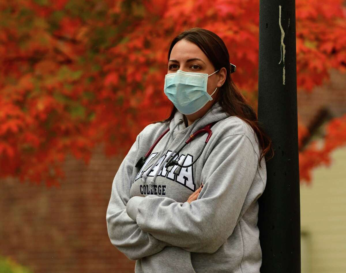Nursing student Becca Petrucci-Little is seen at Maria College on Friday, Oct. 16, 2020 in Albany, N.Y. (Lori Van Buren/Times Union)