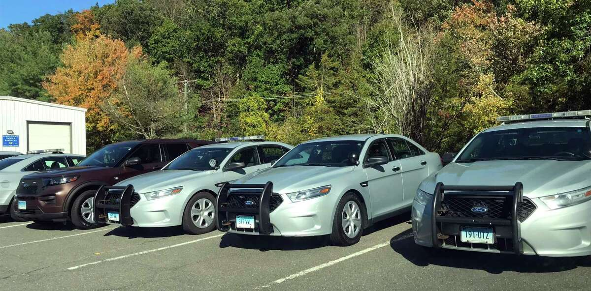State police cruisers at the Connecticut State Police barracks in Southbury, Conn.
