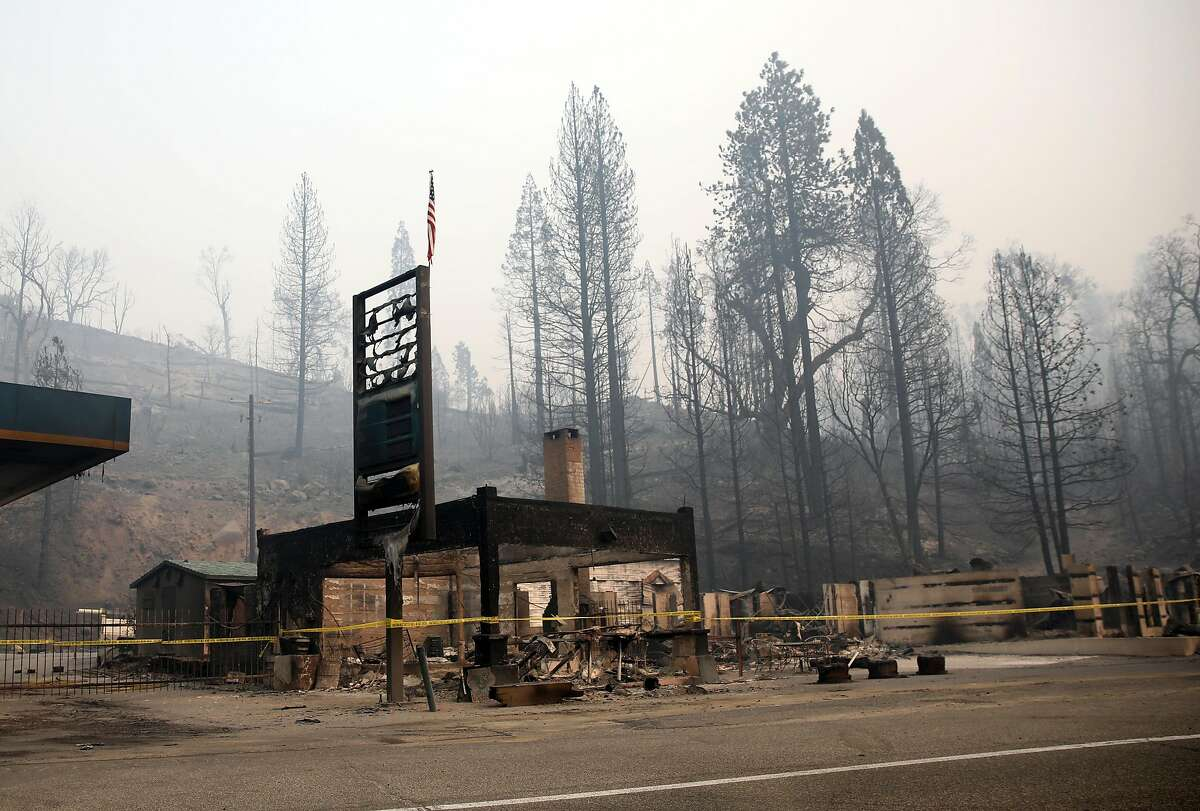 FILE -- A general store, Sept. 15, 2020, that burned down because of the Creek Fire, just east of Fresno, Calif. The Trump administration has rejected California's request for disaster relief aid for six recent fires that have scorched more than 1.8 million acres in land, destroyed thousands of structures and caused at least three deaths, a state official said Thursday, Oct. 15, 2020. (Daniel Dreifuss/The New York Times)