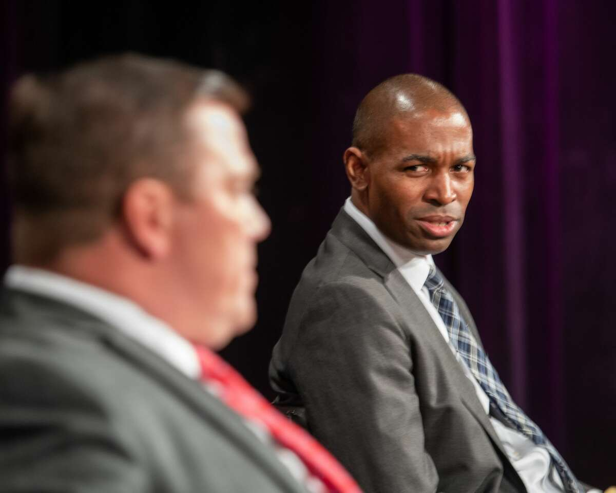 U.S. Rep Antonio Delgado, D-19th District, (right) prior to a debate with his Republican challenger, Kyle Van De Water, at the WMHT studios in Troy, NY, on Thursday, Oct. 15, 2020 (Jim Franco/special to the Times Union.)