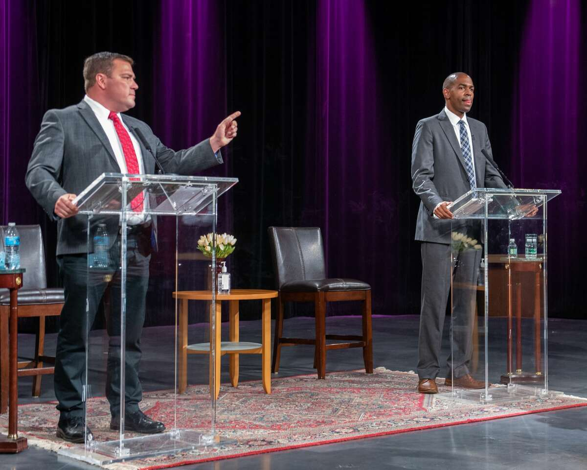 Republican challenger Kyle Van De Water, left, during a debate with U.S. Rep. Antonio Delgado, D-19th District, at the WMHT studios in Troy, NY, on Thursday, Oct. 15, 2020 (Jim Franco/special to the Times Union.)