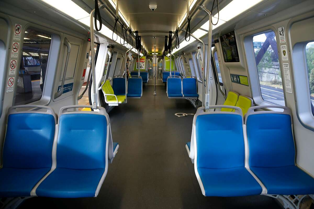 An empty BART train at Oakland's MacArthur Station in May.