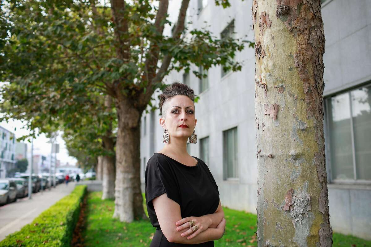 """Sexual assault victim Amanda Hamed, outside the Hall of Justice, says District Attorney Chesa Boudin hasn't taken her case seriously: """"They want me to participate in this survey about how I can make life easier for my attacker?"""""""