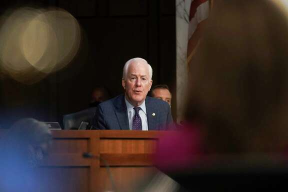 Sen. John Cornyn, R-Texas, speaks during the confirmation hearing for Supreme Court nominee Amy Coney Barrett at the Senate Judiciary Committee on Monday.