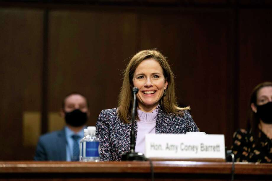 Supreme Court nominee Amy Coney Barrett handled clumsy questions, often from men, with grace and aplombm during her recent hearings. Photo: Anna Moneymaker /Associated Press / Pool The New York Times
