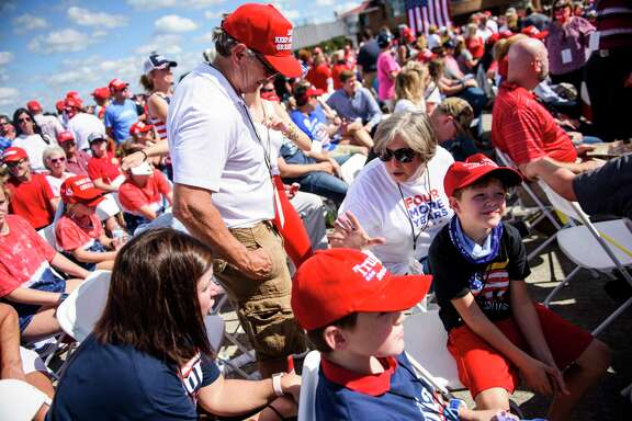 Supporters await the arrival of President Donald Trump at a Make America Great Again rally Thursday in Greenville, N.C. A reader questions why such large gatherings are allowed amid the pandemic.