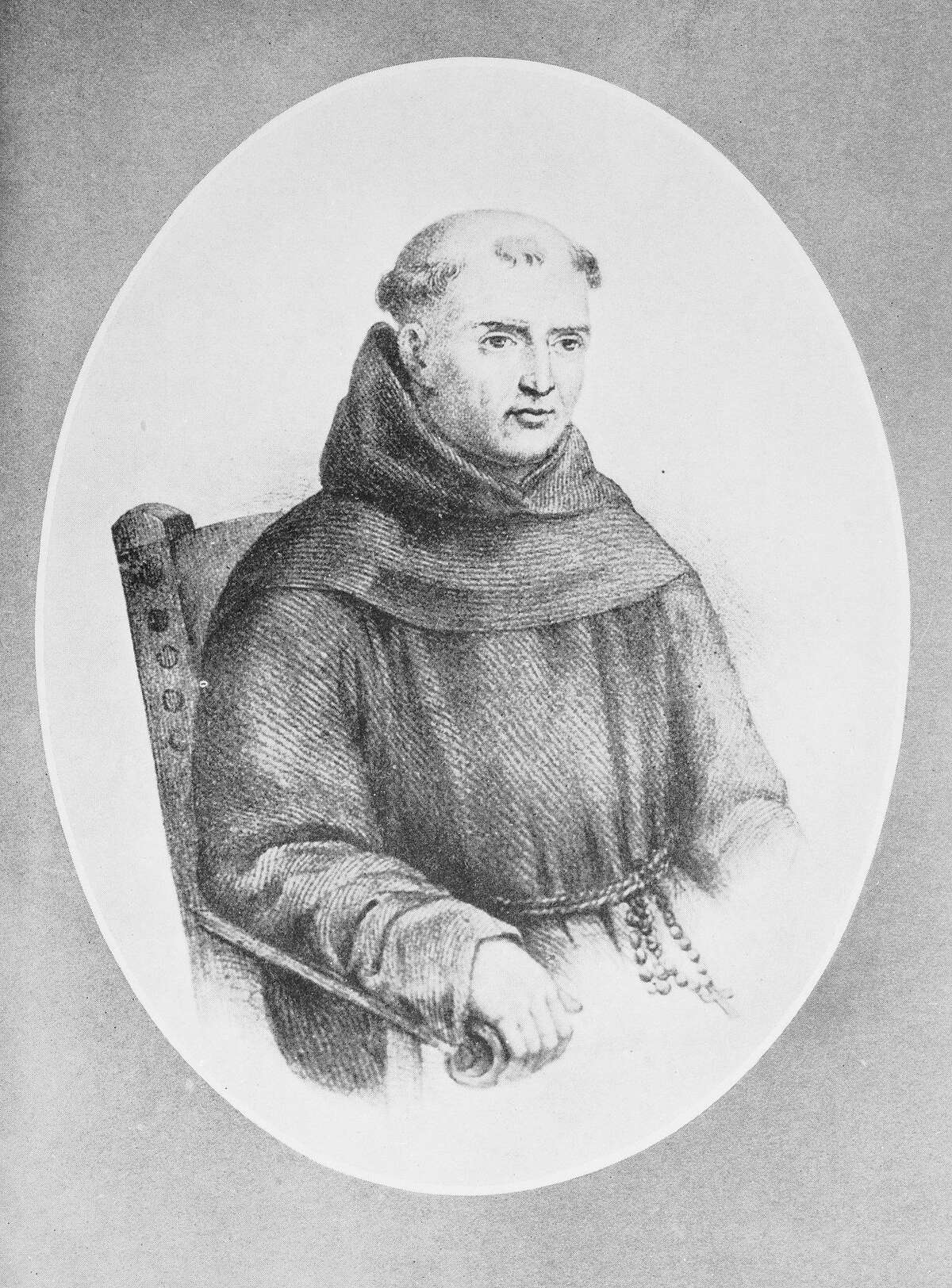 Illustration of Father Junipero Serra in Priestly Dress(Original Caption) Father Junipero Serra. father Junipero Serra 1713-84. Spanish missionary called the Apostle of California. Entered Franciscan order 1730, sent to lower California 1767, founded numerous missions while strenuously defending Indians. Undated illustration.