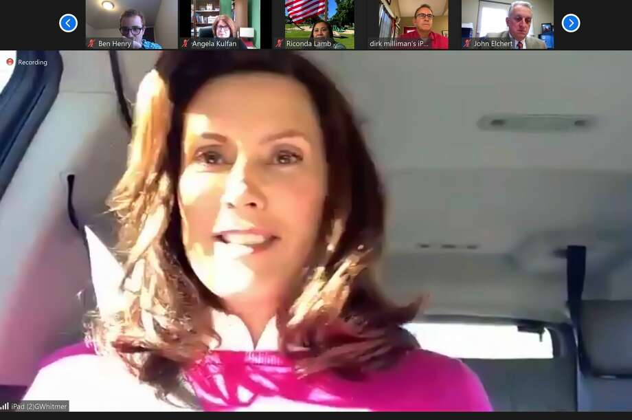 Gov. Gretchen Whitmer appeared as the final keynote speaker for the virtual Michigan Press Association convention on Oct. 16, 2020, speaking to attendees by Zoom. (Mitchell Kukulka/Mitchell.Kukulka@mdn.net) Photo: Mitchell Kukulka