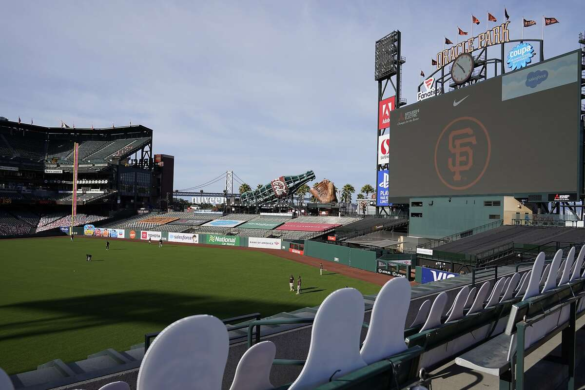 Cutouts are seated in right field at Oracle Park before a baseball game between the San Francisco Giants and the San Diego Padres in San Francisco, Saturday, Sept. 26, 2020. (AP Photo/Eric Risberg)