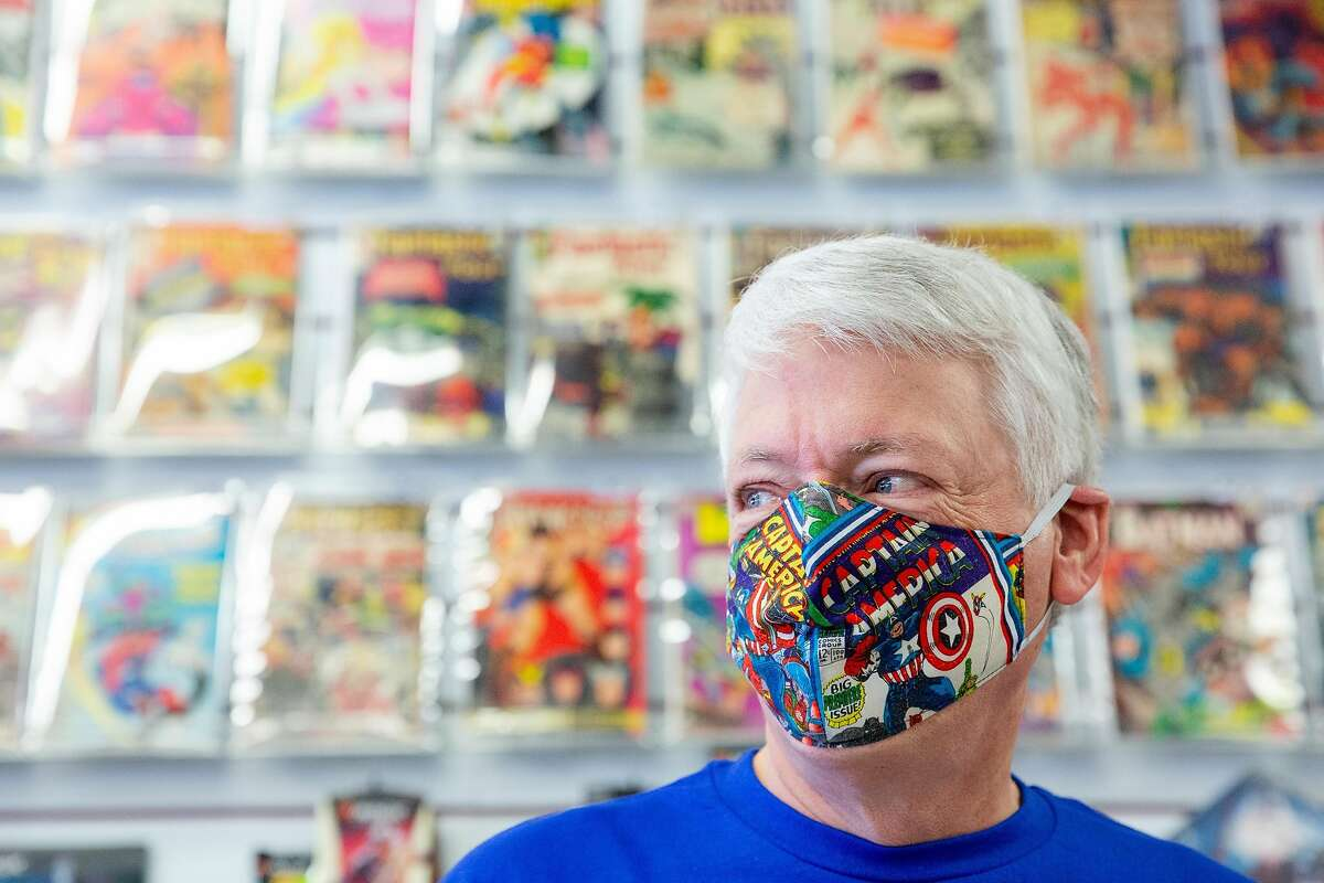 Joe Field, owner of Flying Colors Comic Books, in his store in Concord in mid-October.