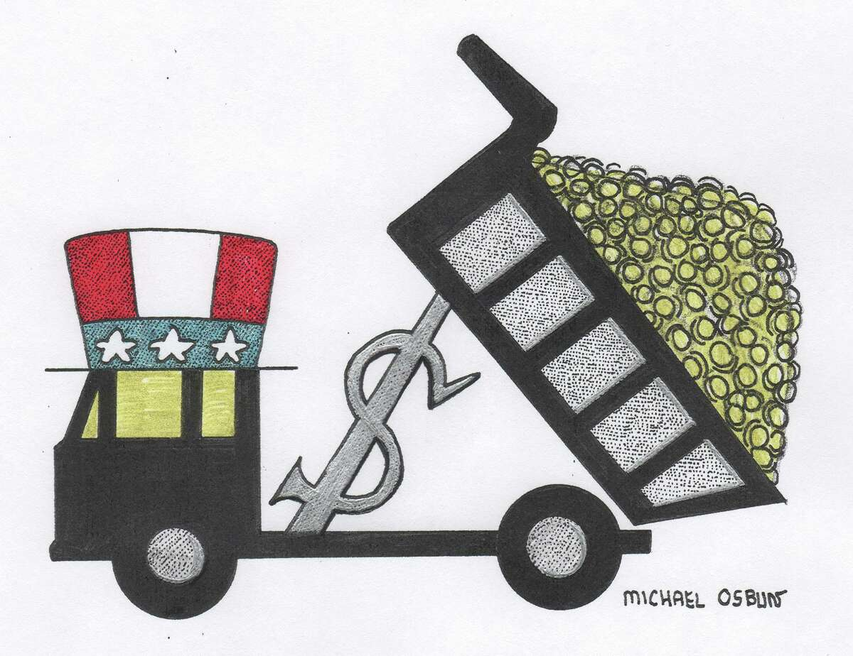 This artwork by Michael Osbun refers to the government stimulus package.