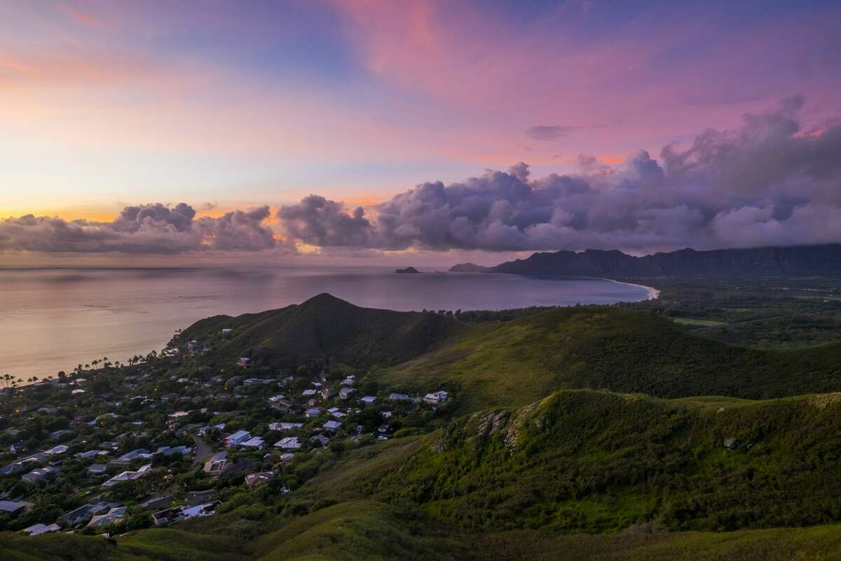 Sunrise from the top of Pillbox Hike overlooking the small town of Lanikai, Oahu.