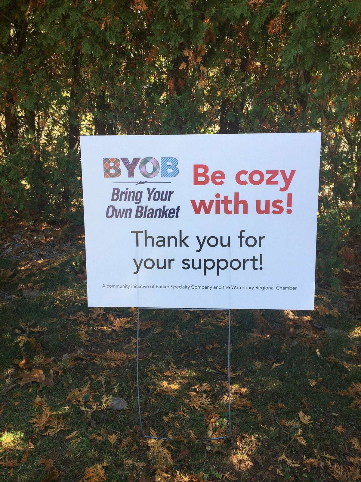 A sign for the BYOB (