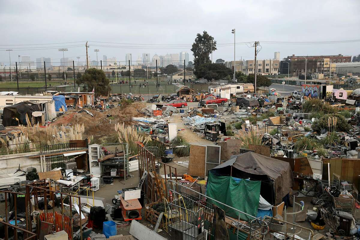 The Wood Street encampment is filled with vehicles, tents and other personal belongings.