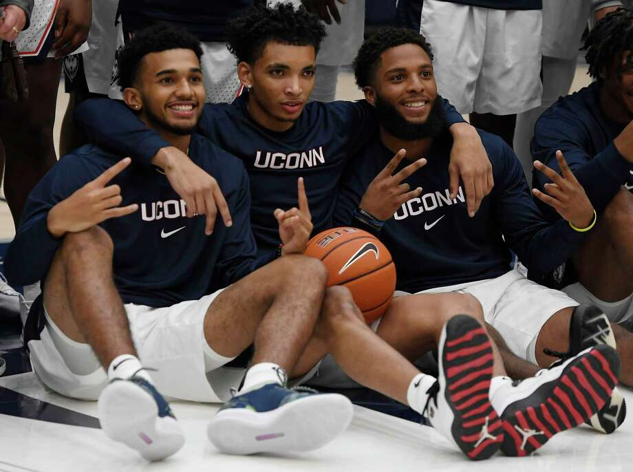 UConn's Jalen Gaffney, left, James Bouknight, center, and R.J. Cole, right, pose for a photo during last year's First Night celebration. Bouknight is the Huskies' unquestioned top dog, and both Gaffney and Cole have the potential be the team's No. 2 scorer. Photo: Jessica Hill / Associated Press / Copyright 2019 The Associated Press. All rights reserved