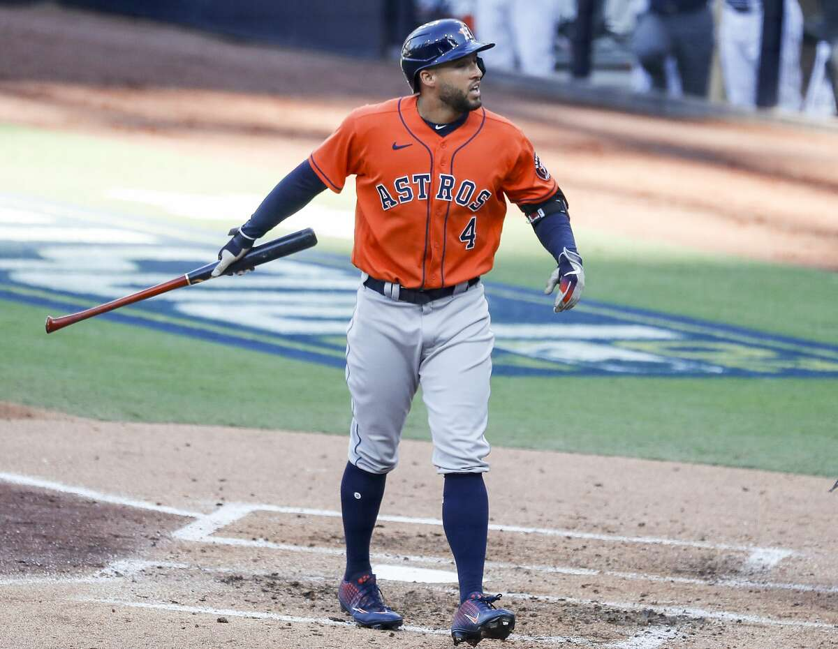 Houston Astros George Springer reacts after striking out during the third inning of Game 6 of the American League Championship Series against the Tampa Bay Rays at Petco Park Friday, Oct. 16, 2020, in San Diego.