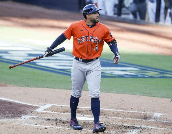Houston Astros George Springer reacts after striking out during the third inning of Game 6 of the American League Championship Series against the Tampa Bay Rays at Petco Park Friday, Oct. 16, 2020, in San Diego. Photo: Karen Warren/Staff Photographer / © 2020 Houston Chronicle