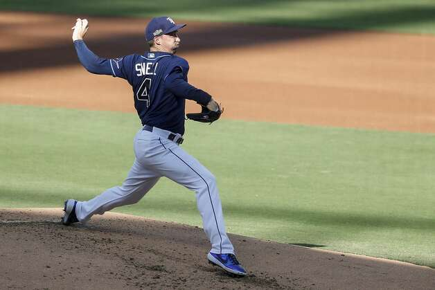 Tampa Bay Rays Blake Snell pitches against the Houston Astros during the second inning of Game 6 of the American League Championship Series at Petco Park Friday, Oct. 16, 2020, in San Diego. Photo: Karen Warren/Staff Photographer / © 2020 Houston Chronicle
