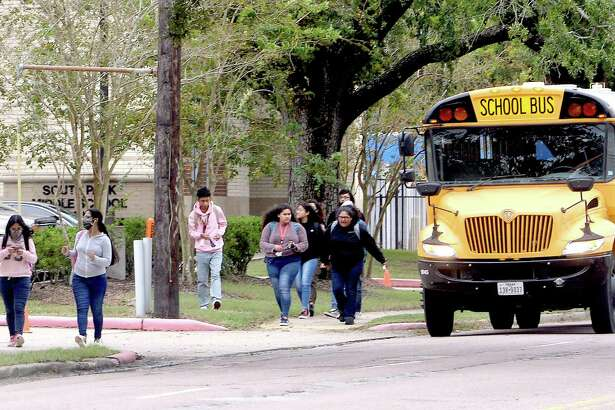A bus drops off students outside the former South Park Middle School on the first day of BISD's second phase of reopening schools for in-person learning. Pre-kindergarten, kindergarten and 6th grades returned Monday. Photo taken Monday, September 28, 2020 Kim Brent/The Enterprise