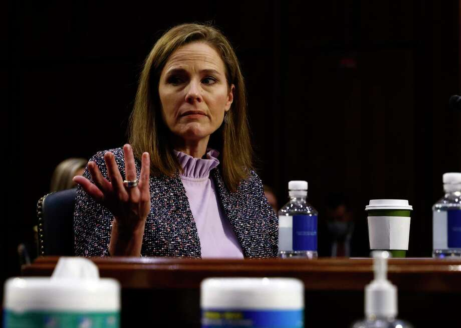 Supreme Court nominee Amy Coney Barrett testifies during the third day of her confirmation hearings before the Senate Judiciary Committee on Capitol Hill in Washington, Wednesday, Oct. 14, 2020. (Photo by Samuel Corum/Getty Images) Photo: Samuel Corum, POOL / Associated Press / 2020 Getty Images