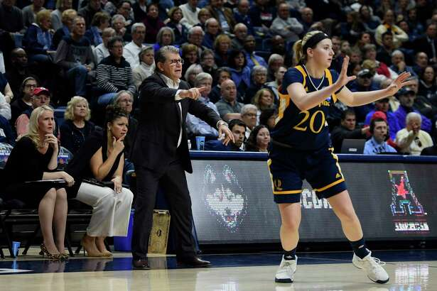 UConn coach Geno Auriemma during a 2018 second-round game NCAA tournament game in Storrs against Quinnipiac. The Huskies will play Quinnipiac and either Mississippi State or Maine in the Hall of Fame Challenge at Mohegan Sun Arena in November.