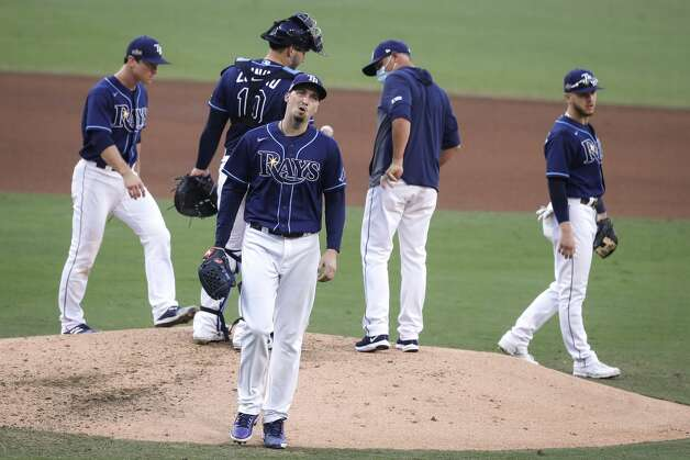 Tampa Bay Rays Blake Snell walks off the mound after being lifted fro the game by manager Kevin Cash during the fifth inning of Game 6 of the American League Championship Series against the Houston Astros at Petco Park Friday, Oct. 16, 2020, in San Diego. Photo: Karen Warren/Staff Photographer / © 2020 Houston Chronicle