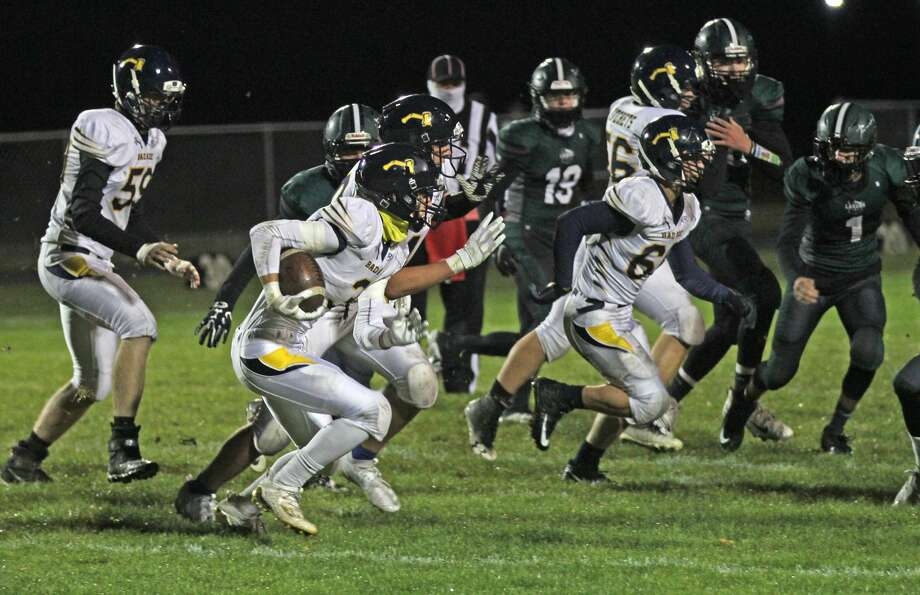 The Bad Axe Hatchets traveled to Pigeon to take on Laker on Friday night.
