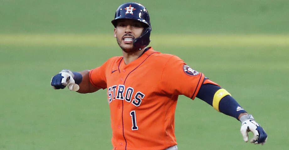 Houston Astros Carlos Correa reacts after hitting a double against the Tampa Bay Rays of Game 6 of the American League Championship Series at Petco Park Friday, Oct. 16, 2020, in San Diego. Photo: Karen Warren/Staff Photographer / © 2020 Houston Chronicle