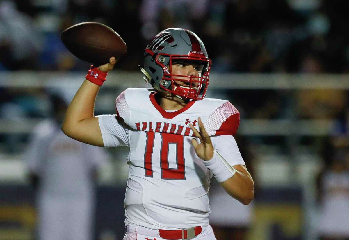 In this file photo, Splendora quarterback Harrison Facundo (10) throws a pass during the fourth quarter of a non-district high school football game against Tyler Chapel Hill at Bulldog Stadium, Friday, Aug. 28, 2020, in Tyler.