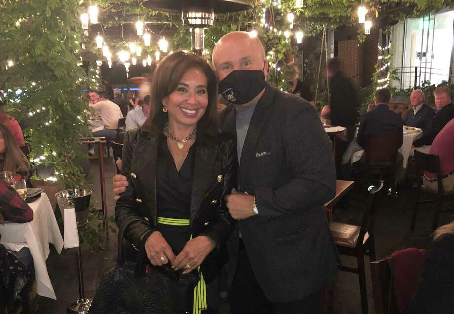 Fox News host Jeanine Pirro of Rye, N.Y., poses with Tony Capasso at Tony's at the JHouse in Riverside last weekend. Photo: Photo Courtesy Tony's At The JHouse /