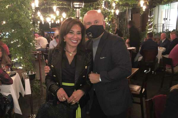Fox News host Jeanine Pirro of Rye, N.Y., poses with Tony Capasso at Tony's at the JHouse in Riverside last weekend.