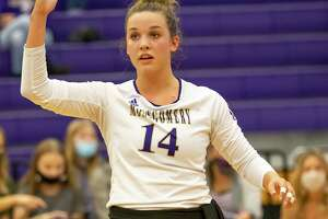 Montgomery setter Raina McWhirter (14) posted 40 assists and 15 digs during a win over Lake Creek on Friday.
