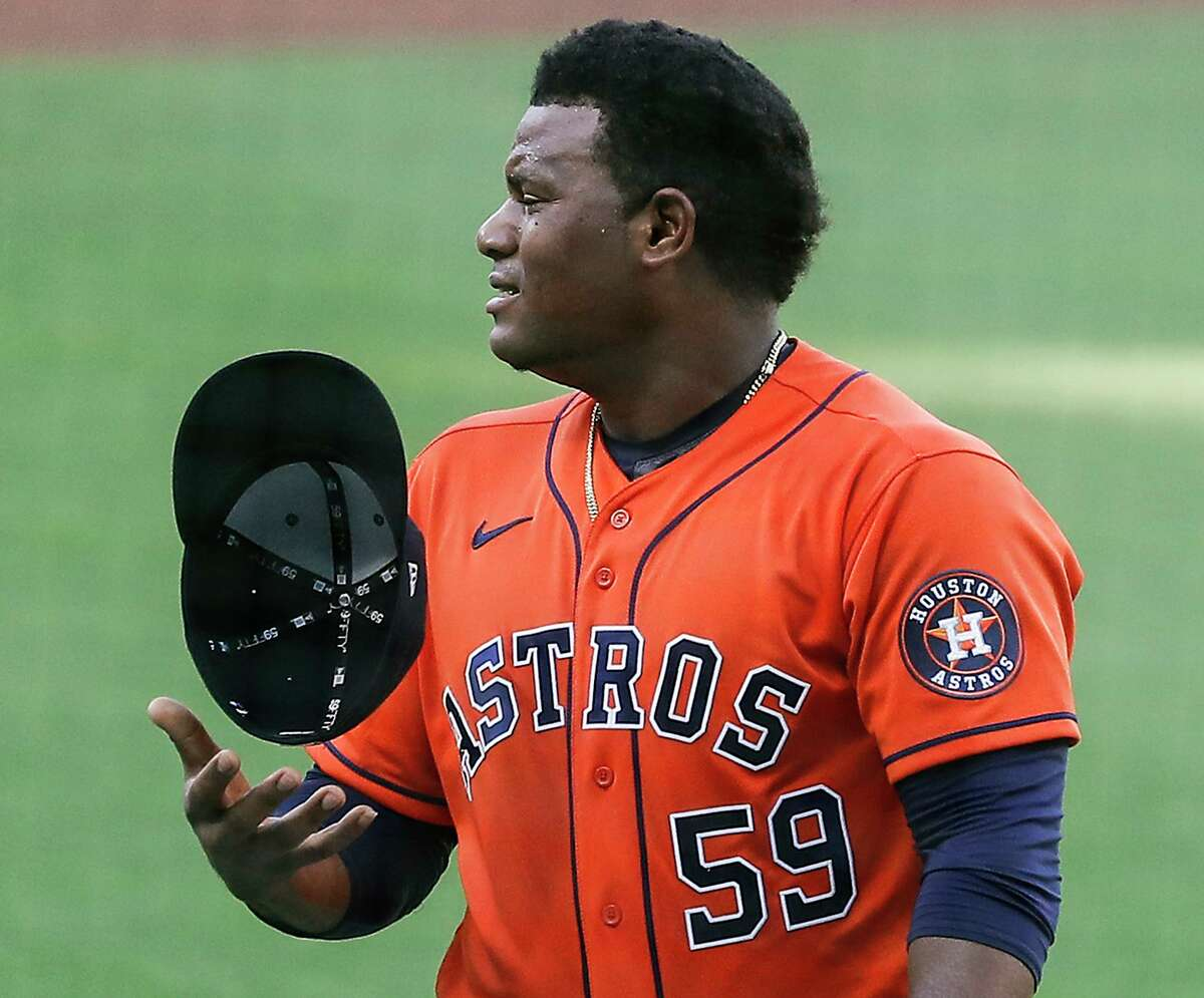 Astros lefthander Framber Valdez was happy with himself after striking out Hunter Renfroe to end the third inning Friday night.