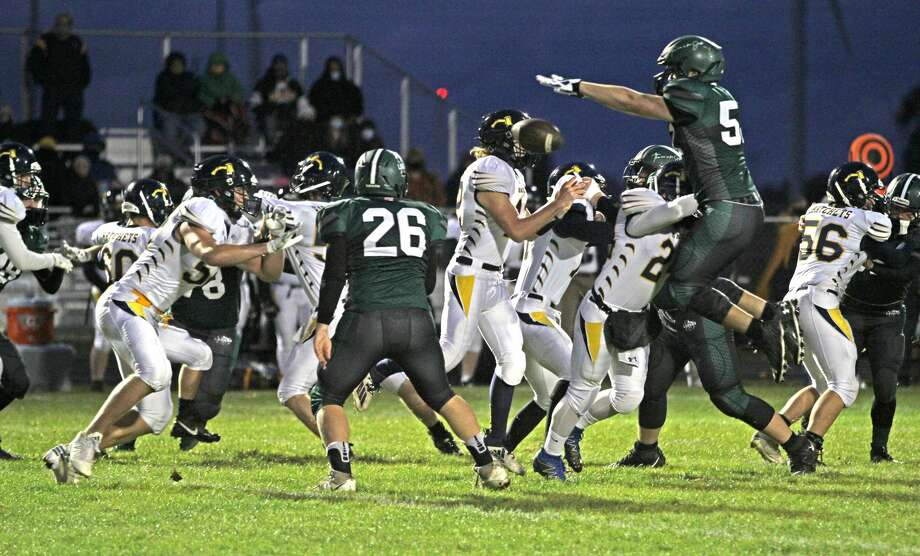 The Bad Axe varsity football team claimed at least a share of the Greater Thumb Conference West title on Friday night after beating host Laker, 27-6. The Hatchets improved to 4-1 on the season. Photo: Mark Birdsall/Huron Daily Tribune