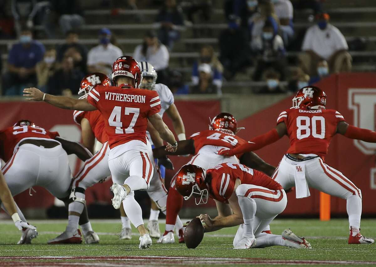 Houston Cougars place kicker Dalton Witherspoon (47) scores a 49-yard field goal during the second quarter against the Brigham Young Cougars Friday, Oct. 16, 2020, at TDECU Stadium in Houston.