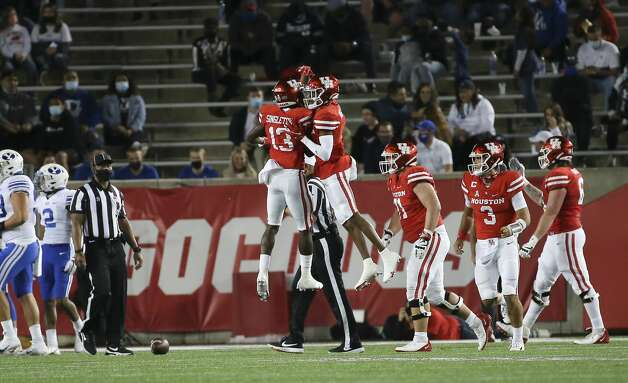 Houston Cougars players celebrate a touchdown during the second quarter against the Brigham Young Cougars Friday, Oct. 16, 2020, at TDECU Stadium in Houston. Photo: Yi-Chin Lee/Staff Photographer / © 2020 Houston Chronicle