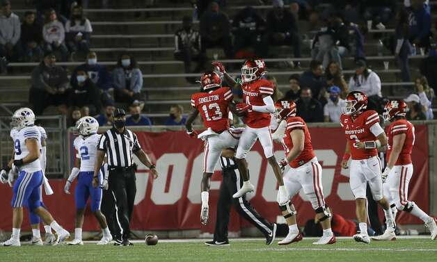 Houston Cougars players celebrate wide receiver Nathaniel Dell's touchdown during the second quarter against the Brigham Young Cougars Friday, Oct. 16, 2020, at TDECU Stadium in Houston. Photo: Yi-Chin Lee/Staff Photographer / © 2020 Houston Chronicle