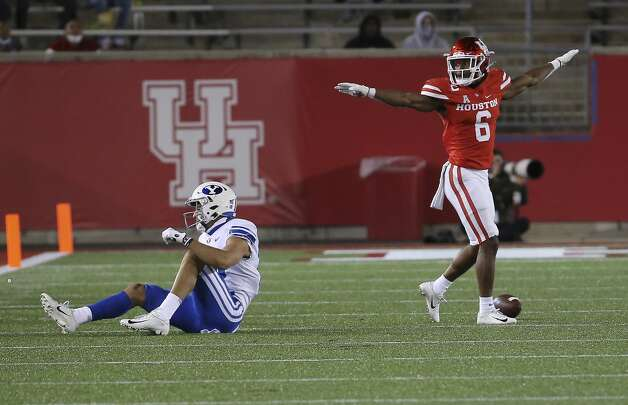 Houston Cougars cornerback Damarion Williams (6) celebrates him interrupting a pass for Brigham Young Cougars wide receiver Gunner Romney (18) during the second quarter Friday, Oct. 16, 2020, at TDECU Stadium in Houston. Photo: Yi-Chin Lee/Staff Photographer / © 2020 Houston Chronicle